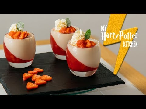 Gryffindor Strawberry Jelly Panna Cotta Recipe | My Harry Potter Kitchen (Ep. 44)