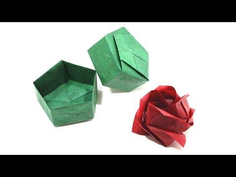 ORIGAMI KAWASAKI ROSE TUTORIAL (Toshikazu Kawasaki) PENTAGONAL GIFT BOX 折り紙 バラ Valentine's Day
