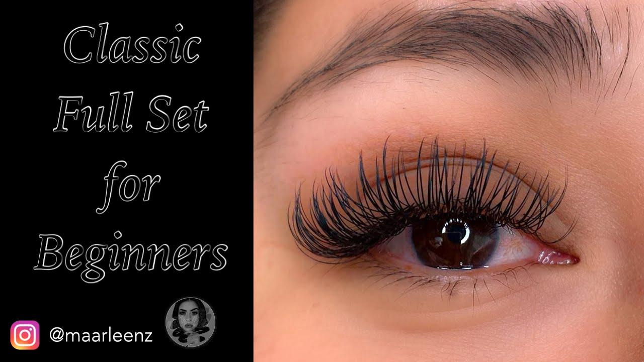 Classic Full Set Eyelash Extensions for Beginners - YouTube