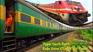 Double WAP-4 Diesel Locomotive 12881/Garib Rath Express & Super AC Express crossing each other
