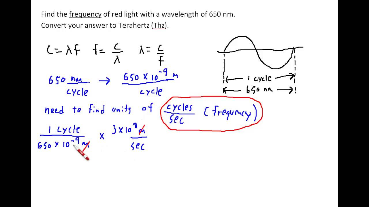 Find the Frequency of Light given its Wavelength - YouTube