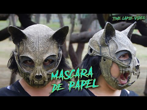 Craneo De Gato // Máscara Hecha Con Papel // Video Time Lapse // ¿Cómo Se Hace?