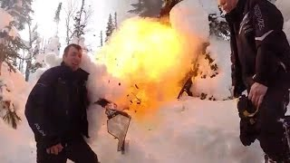 Snowmobile Burns and Explodes!!! MUST WATCH!!!