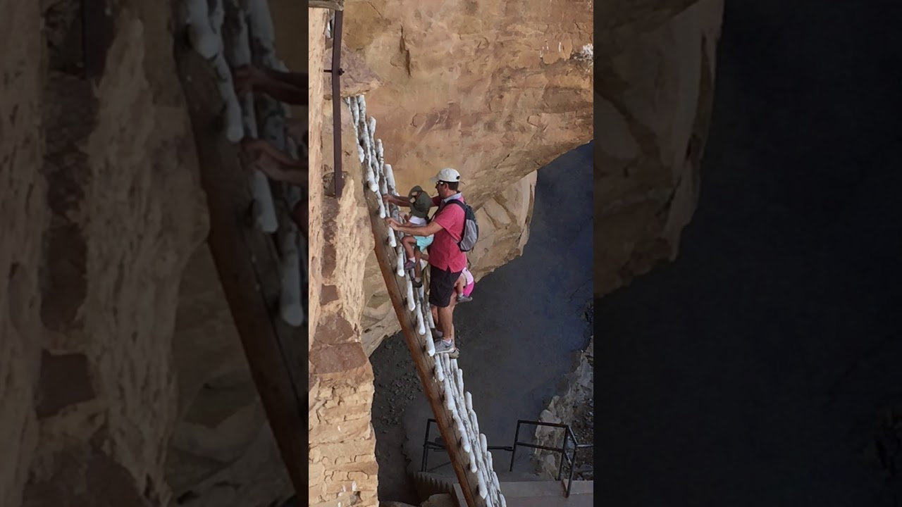 Balcony House ladder climb, Mesa Verde 2017 - YouTube