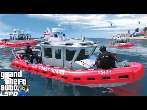 GTA 5 LSPDFR USCG Coastal Callouts   Swat Team Chasing Fleeing Boat   United States Coast Guard Mod