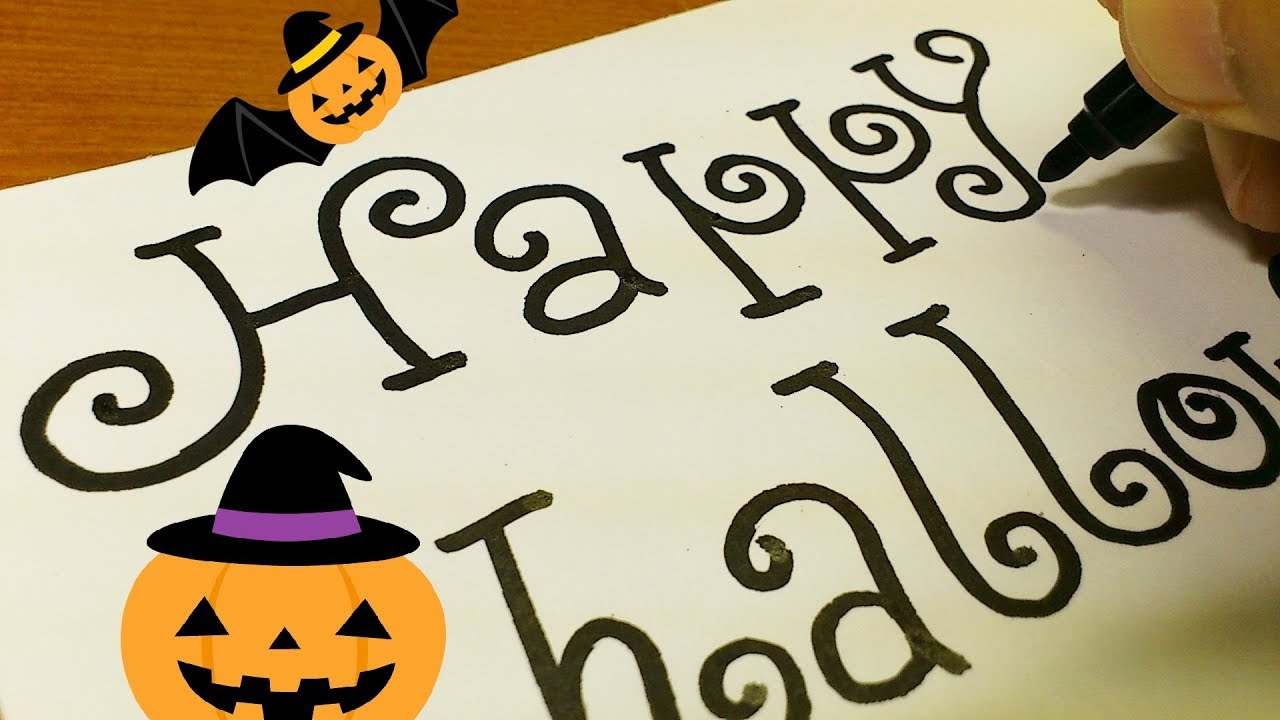 Very Easy How To Draw Halloween Fancy Letters Step By Step Drawing Doodle Art On Paper