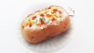 Miniature food tutorial - Polymer Clay - Baked Potato Charm