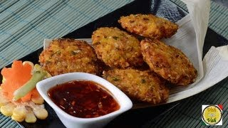Fried Corn Cakes With Green Onions  - By Vahchef @ Vahrehvah.com