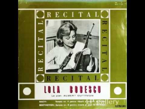 Lola Bobescu plays Bach, Sonata No. 4 for Violin and Piano, BWV 1017, Part 3 Adagio - Allegro