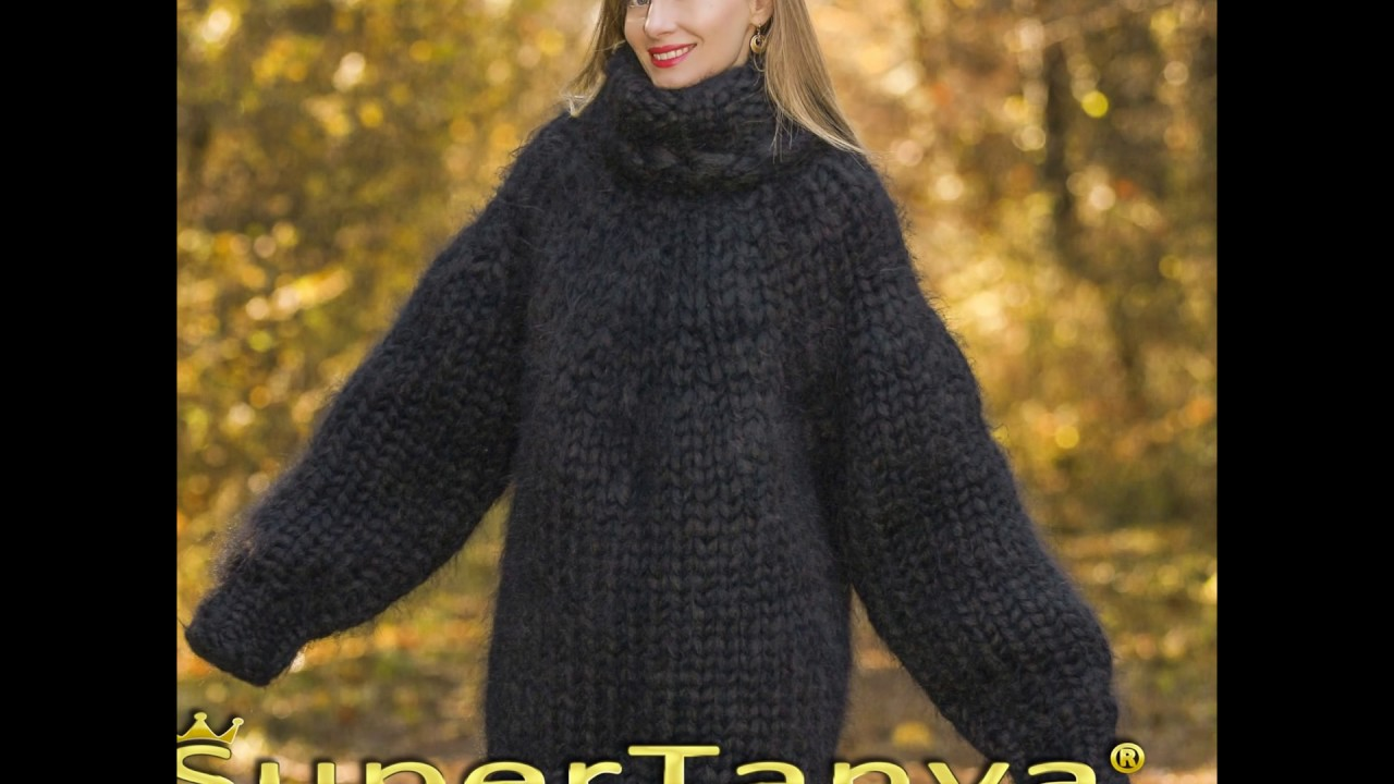 f9c6eeb7b2 Mega thick and heavy black mohair sweater hand knitted with 25 strands  mohair