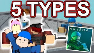 5 TYPES OF ARSENAL PLAYERS | ROBLOX