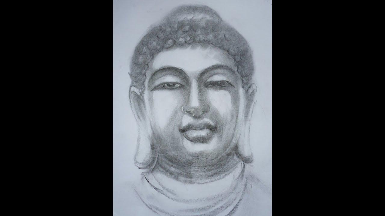 How to draw portrait using pencil gautam buddha