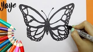 Como Dibujar una mariposa - How to draw a butterfly
