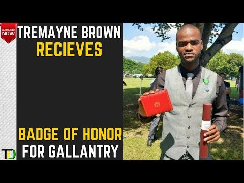 "Trench Town Hero -Tremayne Brown receives the ""Badge Of Honour"" For Gallantry on National Heroes Day"