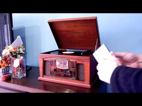 Vitrola Crosley Lancaster 5 em 1 toca discos cassete AM/FM CD Player AUX in