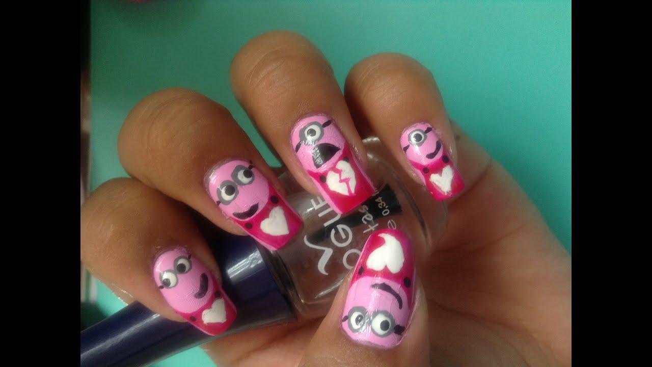 Diseño de uñas - Minions Rosa | Nail Art - Valentine´s Pink Minions ...