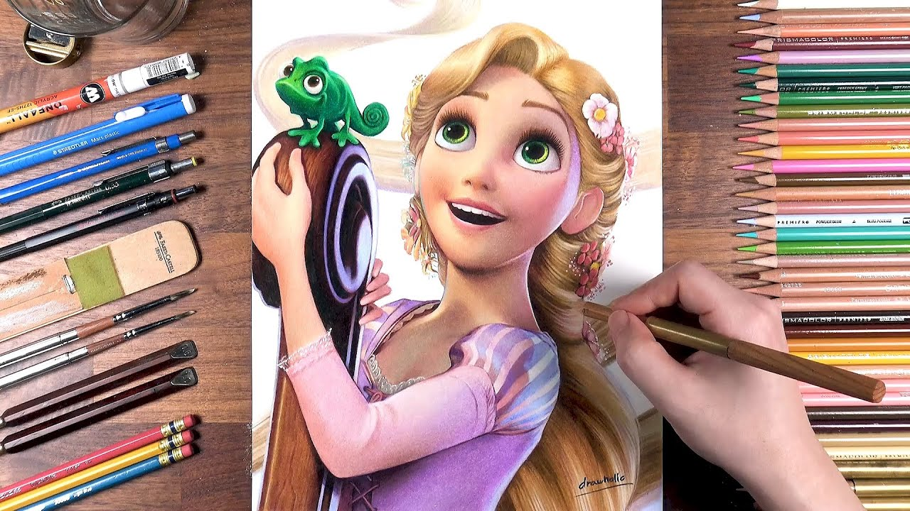 Drawing Rapunzel with Pascal (Tangled) | drawholic