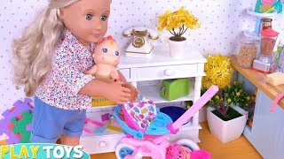 Baby Doll Andamp Mommy Dress Up In Bedroom For Stroller Park Ride
