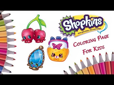 Shopkins Coloring Pages How To Color Brenda BroochJungle Purse Cheeky Cherries Art