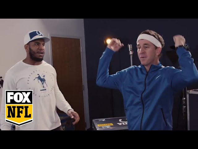 Cooper Manning practices touchdown celebrations with Eric Ebron | MANNING HOUR | FOX NFL