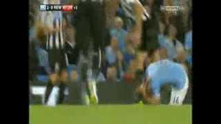 manchester city newcastle united 2 0 steven taylor sent off amazing foul