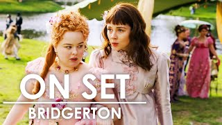 Behind the Scenes of Bridgerton with Phoebe Dynevor, Claudia Jessie & More | On Set