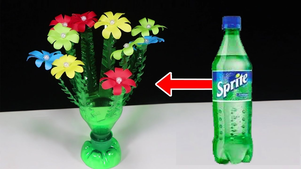 Empty Plastic Bottle Vase Making Craft Water Bottle Recycle Flower Vase Art Decoration Idea