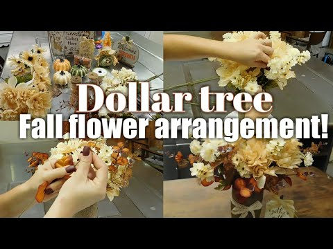 DIY Fall Flower Arrangement From Dollar Tree | Beautiful Fall Items On A Extreme Budget.