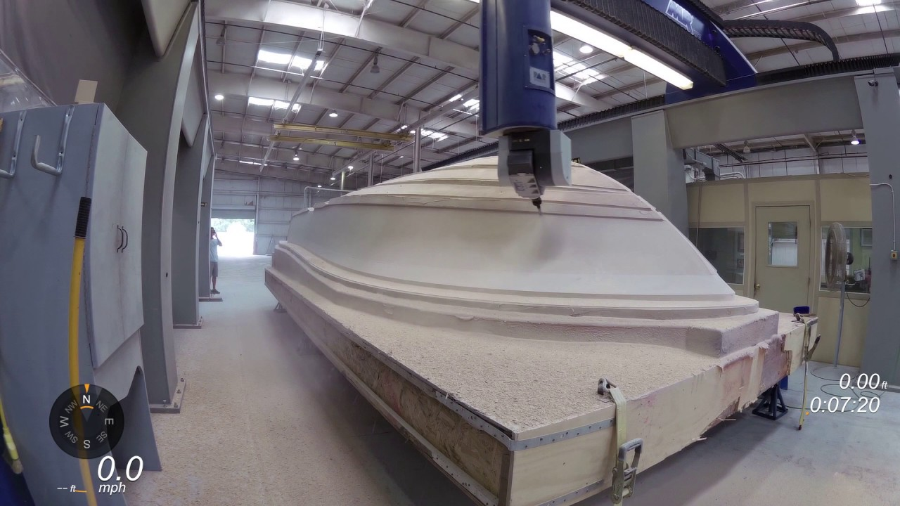 Lobster Boats For Sale >> Barker Boatworks Hull Plug CNC Cut - YouTube