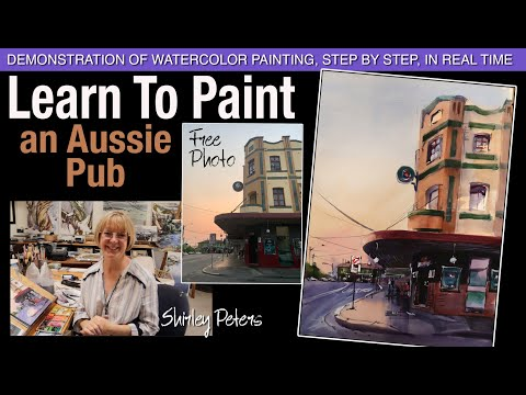 learn-to-paint!-an-aussie-pub.-real-time-watercolour-demonstration,-step-by-step,-commentary.