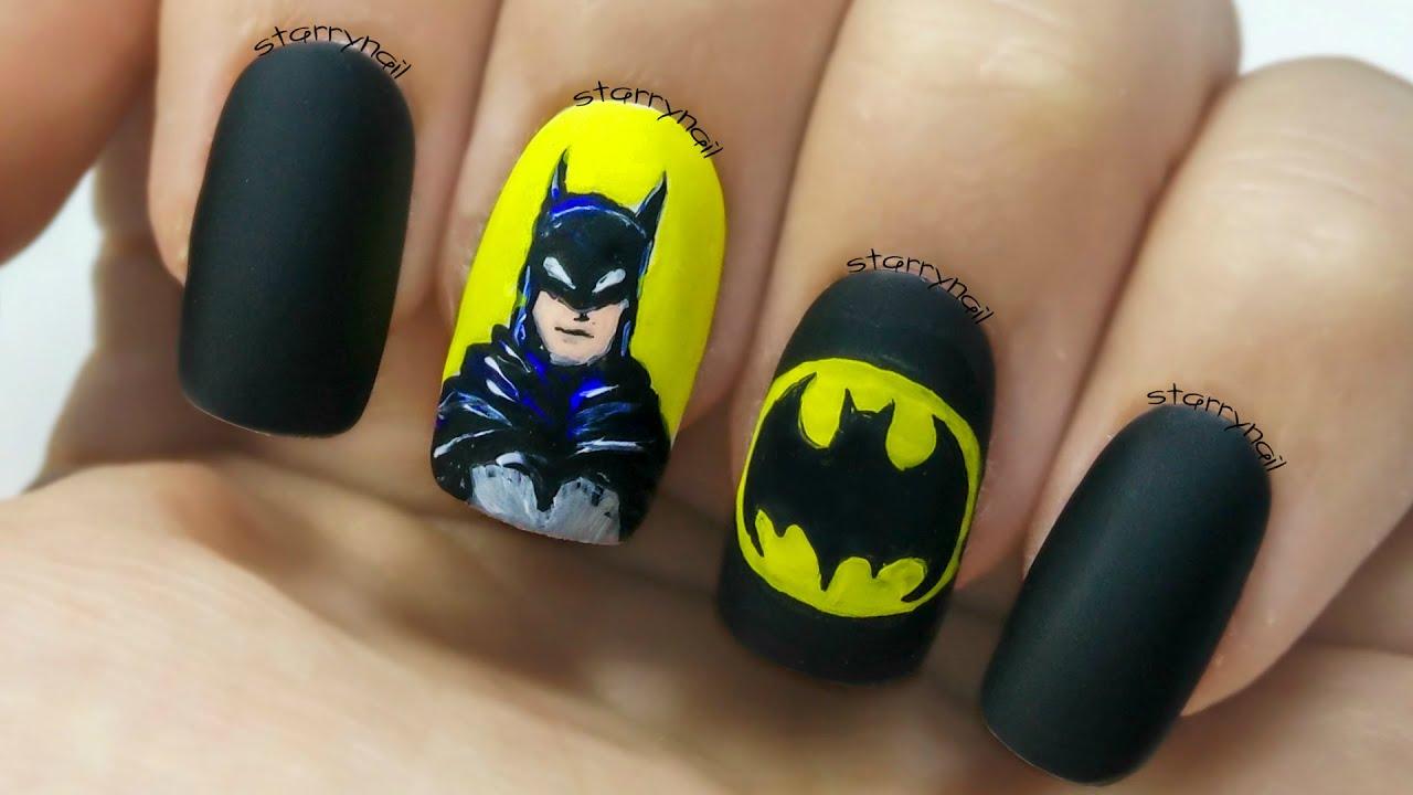 Batman [Freehand Nail Art] - Batman [Freehand Nail Art] - YouTube