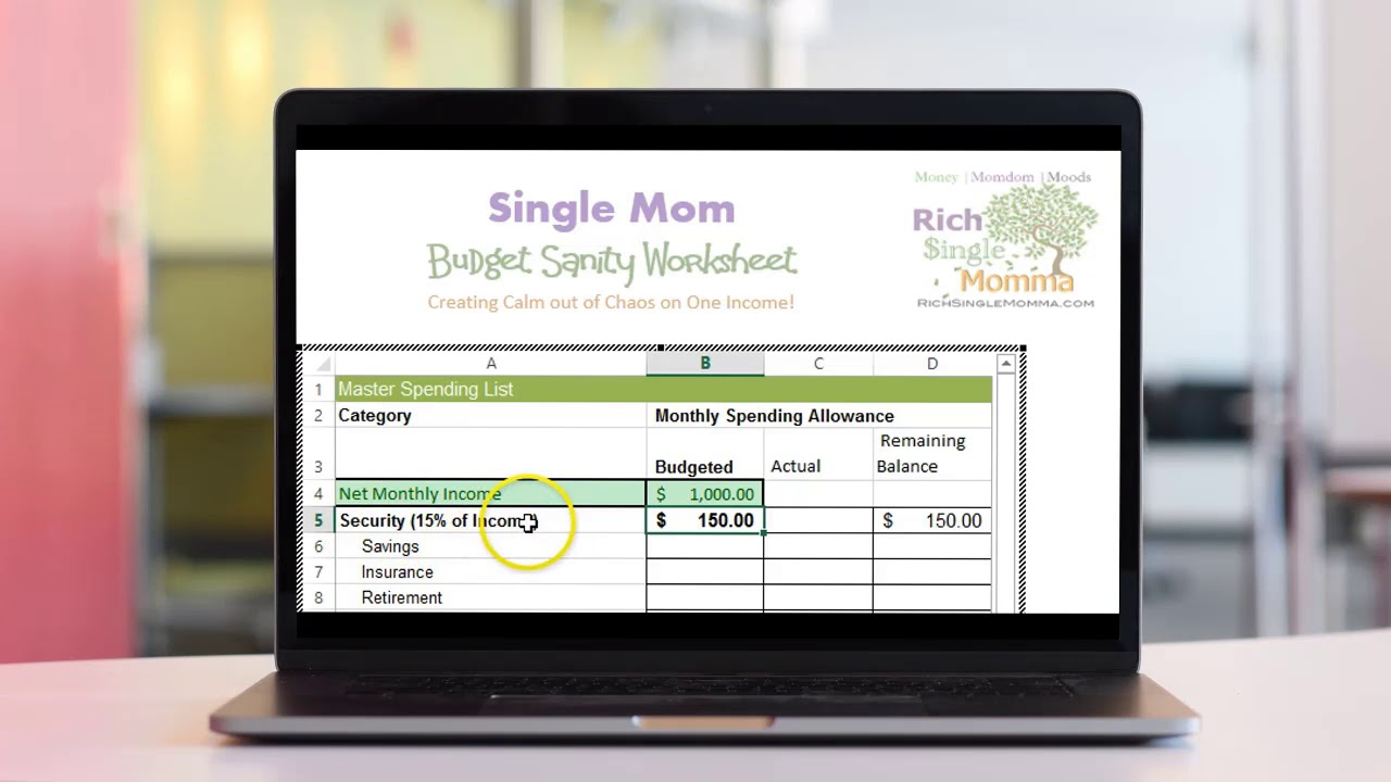 single mom sanity saver budget worksheet youtube