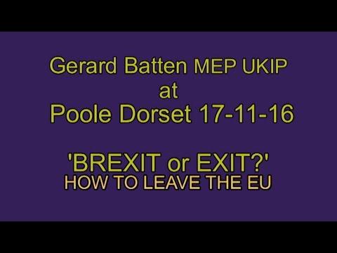 UKIP pt 2 Gerard Batten MEP 'How to Leave the EU' - Brexit means Exit!