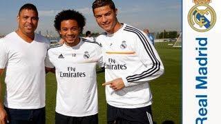 Ronaldo Nazario da Lima acudió a la Ciudad Real Madrid(El exfutbolista blanco acudió a la Ciudad Real Madrid, observó la última sesión previa al partido frente al Elche, saludó a los miembros de la plantilla blanca y ..., 2013-09-25T10:25:34.000Z)