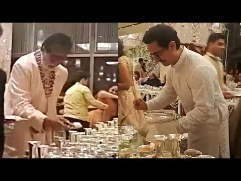 Amitabh Bachchan And Aamir Khan Serving Food At Isha Ambani Wedding