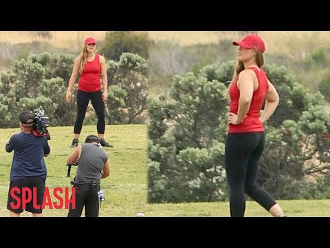 Ronda Rousey Tapes 'Battle of the Network Stars' in Malibu | Splash News TV