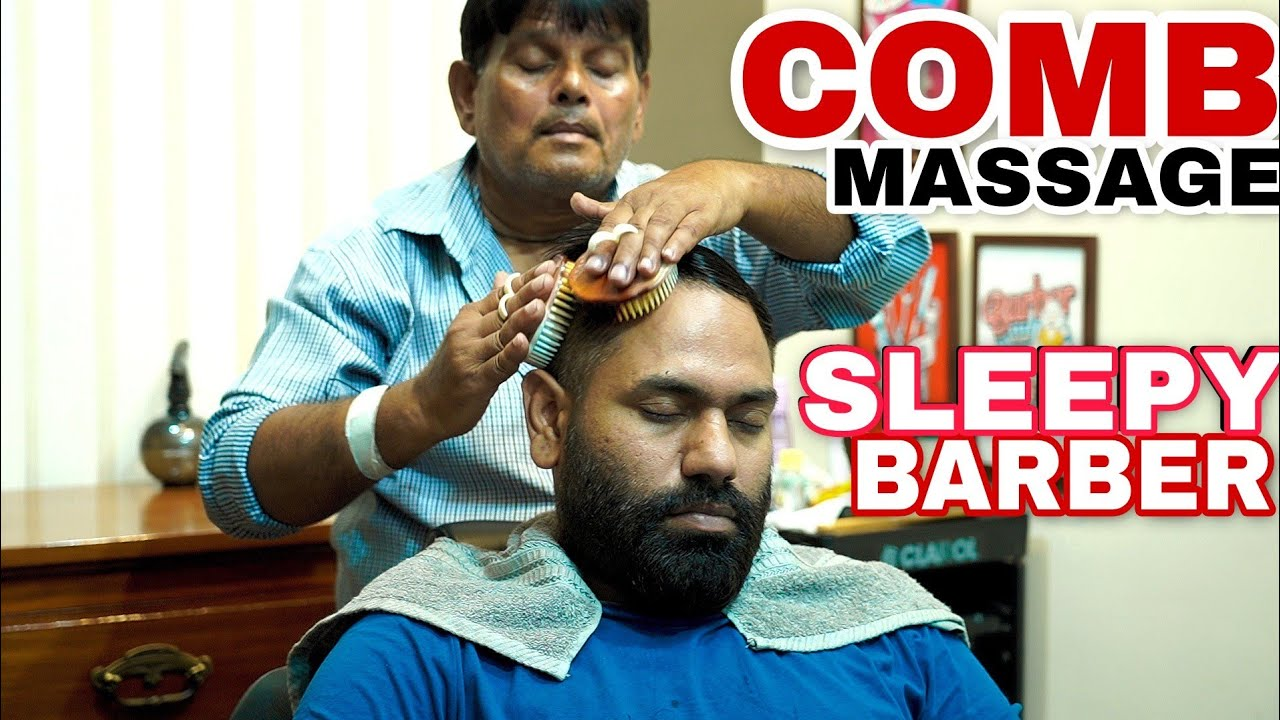 ASMR COMB HEAD MASSAGE | CRACKINGS BY SLEEPY BARBER SARWAN | INDIAN BARBER