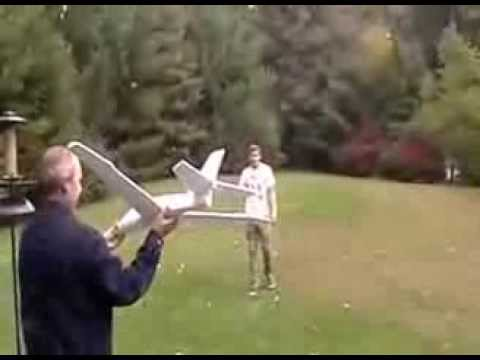 Funny Accident Video  - Toy Plane Hits Man Like A Boomerang