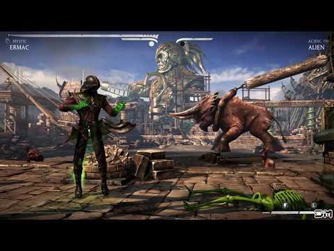 Mortal Kombat XL All X-Rays on Aliens Green Skeleton