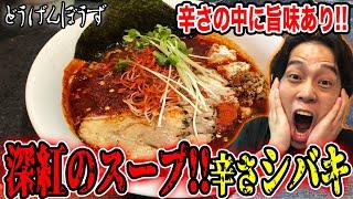 【激辛】スープが真っ赤…どうげんぼうずの辛そばレベルMAXで悶絶!?