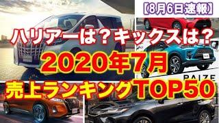 【速報】7月新車販売台数ランキング!ハリアーは?キックスは?コロナの影響は?