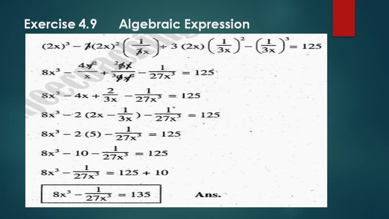 math worksheet : unit 4 exercise 4 9 algebraic expressions  matric math unit 4  : 8x8 Math
