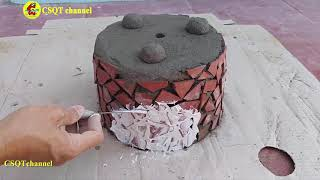 Make flower pots from broken bricks / flower pots with cement and sand | CSQT channel