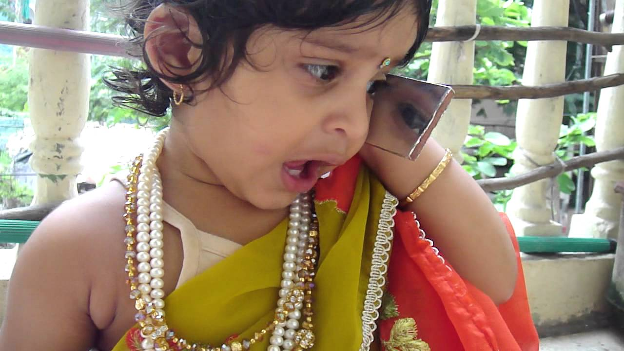 my cute baby wear a saree and funny phone call - youtube