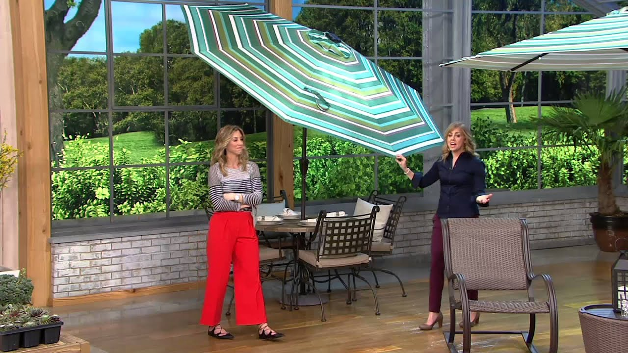 Atleisure 9 Light Solar Patio Umbrella With 44 Led S And Cover On Qvc