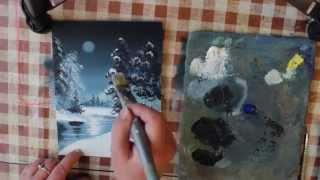 Нарисовать зимний пейзаж как профи смогут все  2 часть(Поэтапное рисование зимнего пейзажа. Прекрасный натюрморт своими руками. Это видео на конкурс, приз 50 000..., 2015-12-01T12:52:15.000Z)