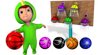 PLAY BASKETBALL to Learn Colors with the  Baby Dinosaur - Fun Educational Learning Color Video