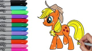 My Little Pony Coloring Book Pages Applejack MLP Video for Kids Art | Toy Caboodle