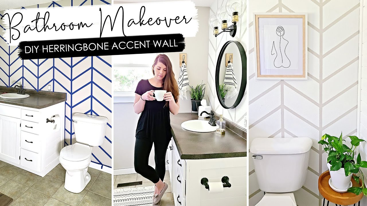 Bathroom Makeover With Diy Herringbone Accent Wall Modern Boho Bathroom Makeover Youtube