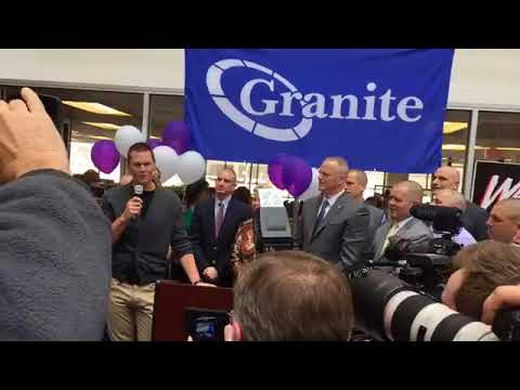 Grainte CEO Rob Hale with Gov. Baker at Saving by Shaving event in Quincy